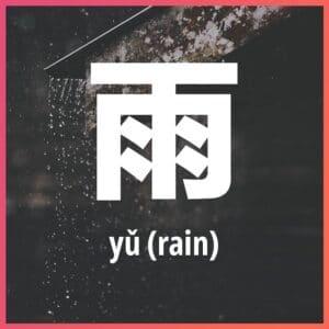 Chinese character: rain
