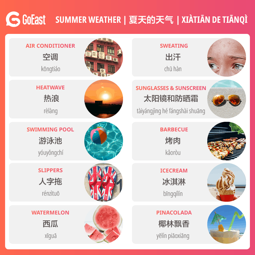 Summer vocabulary in Chinese